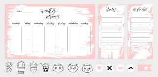 Weekly Planner Template Concept With Texture Isolated Organizer