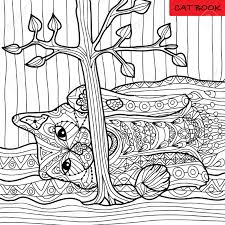 cat coloring book for s zentangle patterns hand drawn ilration stock vector