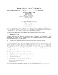 Project Contract Templates Ct Home Improvement Contract Template Lovely Resume Templates ...