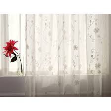 white sheer curtains with embroidery loading zoom
