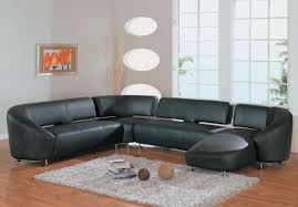 Living Room Black Leather Sofa Furniture Ultra Modern Black Red Laminated Comfortable Leather