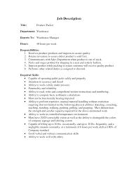 Stocker Job Description For Resume 24 Warehouse Job Description Resume Sample Sample Resume For Packer 16