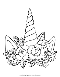 Unicorns are such magical creatures; Unicorn Horn And Flowers Coloring Page Free Printable Pdf From Primarygames