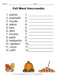 Fall Word Unscramble 791x1024