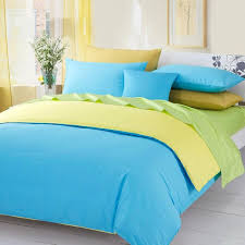 3pieces color green yellow blue solid duvet covers