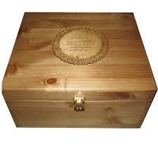 rustic pine large memory box with celtic engraved plaque personalised