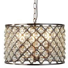 marquise 3 light ceiling pendant in antique copper finish and clear crystal glass