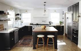 Kitchen Island Open Shelves Cabinets Storages Black Kitchen Cabinet White Countertops