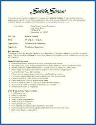 Mail Handler Resume Warehouse Resume Skills Material Handler Resume Skills Warehouse