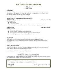 Plain Teenage Resume Template With Top Right Detail Sender Address