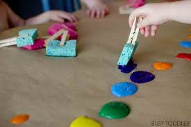 SPONGE PAINTING: Simple process art that toddlers will love; an easy art  activity for