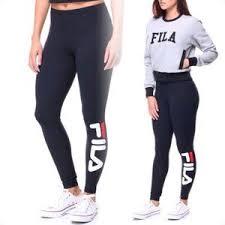 fila leggings. fila performance navy blue logo leggings