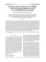 Developmental Screening Tools Bioline International