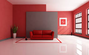 Red Interior Design with a Contemporary Painting using the same colors to  create a balance in the room. Title of the Artwork: Art by Laelanie Larach