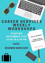 ... 17th between 12:45pm and 1:45pm in the Hameetman Career Center to hear  from our career counselors about how to write cover letters and improve  resumes.