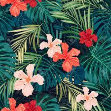 Hawaiian Pattern New Summer Colorful Hawaiian Seamless Pattern With Tropical Plants