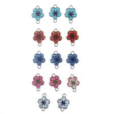<b>10pcs</b> Alloy <b>Mixed</b> Color Enamel Art Oil Drop Flower Charms ...
