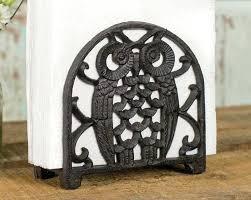 metal napkin holder cast iron owl napkin holder