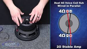 how to wire a dual 4 ohm subwoofer to a 2 ohm final impedance how to wire a dual 4 ohm subwoofer to a 2 ohm final impedance car audio 101