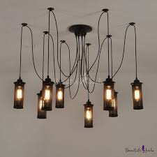 industrial 8 lt swag led multi light pendant with cylindrical mesh shade