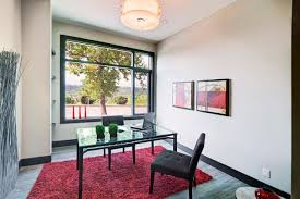 office shag. Red-shag-rug-Home-Office -Contemporary-with-beige-walls-black-baseboard-black-trim-drum-shade-glass Office Shag