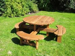 round 8 seater heavy duty commercial grade picnic table
