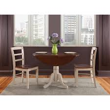 international concepts antiqued almond and espresso skirted dining table