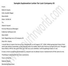 Sample Letter For Lost Company Id Card Id Card Missing Letter