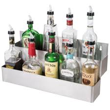 22 stainless steel double tier commercial bar sd rail liquor display rack