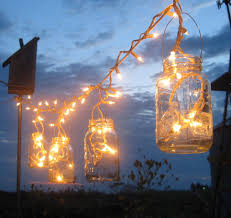 backyard outdoor lighting ideas with diy mason jar candle holder lantern lighting ideas with hanging rope