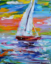 original oil painting sailing sunrise abstract by karensfineart