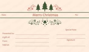 Holiday Gift Certificate Holiday Gift Certificate Template Free Download Tree Christmas Gift