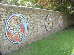 mosaic wall decor: mosaic outdoor wall art circles within circles good idea for collaborative work