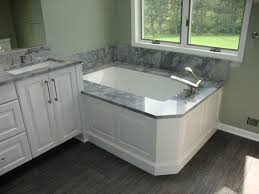 white vanity with gray top. Bathroom White Wooden Vanity With Grey Top And Washbasin Combined By Bathtub Intended Gray