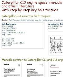 Connecting Rod Bearing Size Chart Caterpillar C13 Engine Specs Manuals And Bolt Torques