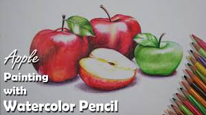 how to draw a still life painting apple with watercolor pencil step by step