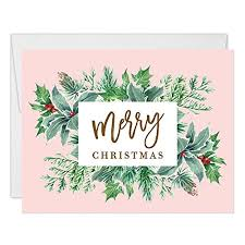 Pink Christmas Card Amazon Com Pink Christmas Greeting Cards Box Set Of 25 Modern