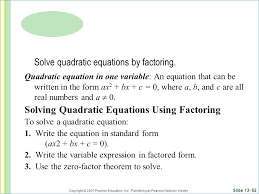 digital lessons on factoring ppt what is a quadratic equation