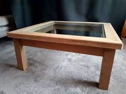 solid oak glass top coffee table