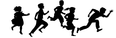 Image result for kids running clipart black and white