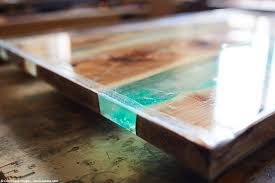 an resin river table with wood