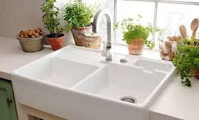 Ceramic White Farmhouse Best Double Bowl Kitchen Sinks Useful