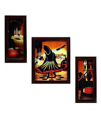 framed wall art set of 3 folk sets
