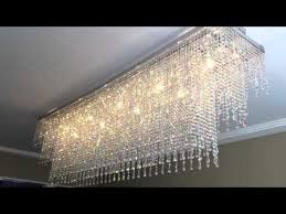2m custom bespoke rectangular crystal led chrome chandelier by first class lighting ltd