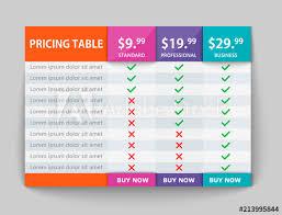 Creative Table Chart Creative Business Plans Web Comparison Pricing Table Design