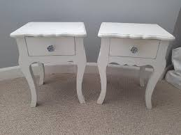shabby chic white wooden bedside tables x2
