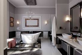 elegant bathroom lighting with unique white porcelain bathtub and glass shower room also double porcelain sink and dark brown cabinet combine with black bathroom lighting