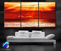 """LARGE 30""""x 60"""" <b>3 Panels</b> Art Canvas Print beautiful <b>Beach Sunset</b> ..."""