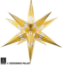 Hartenstein Christmas Star For Inside Use White Yellow With Gold 68 Cm 27 Inch