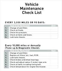 Vehicle Check Sheet Template Free